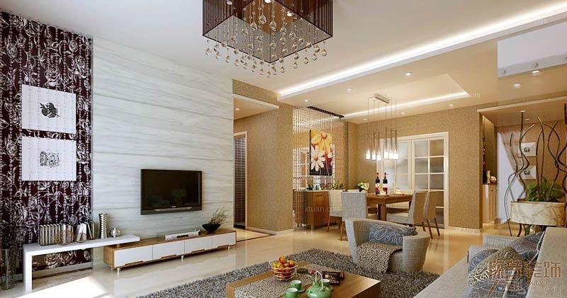 两室一厅现代简约客厅电视背景墙_保利可爱岛装修效果