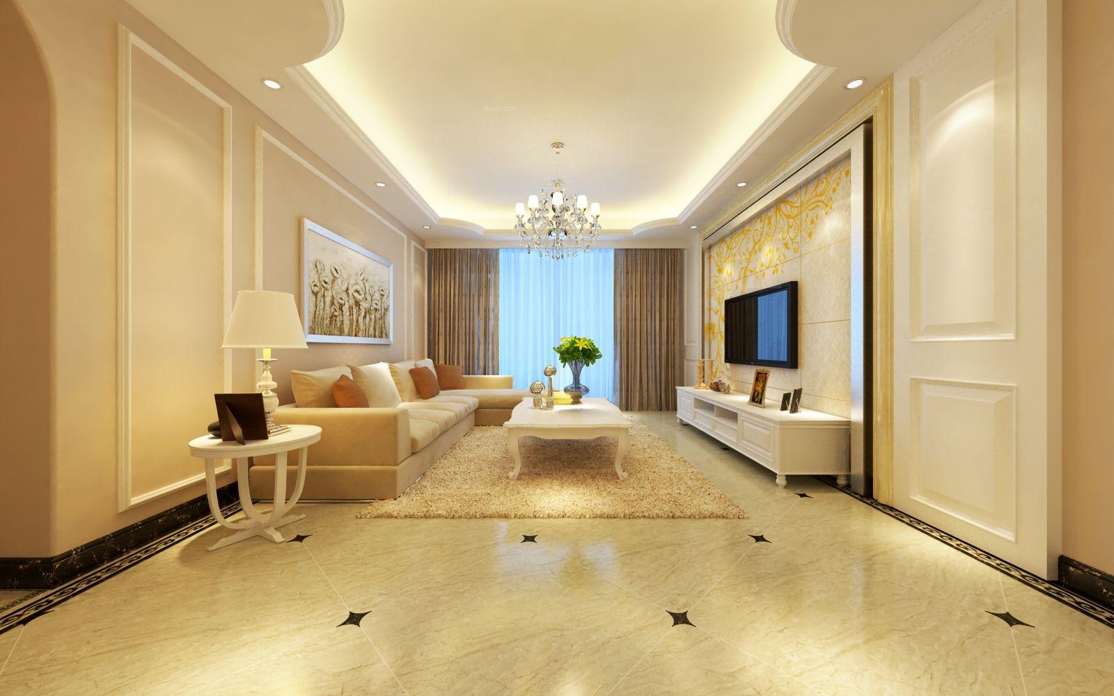 三室两厅简欧风格客厅电视背景墙图片
