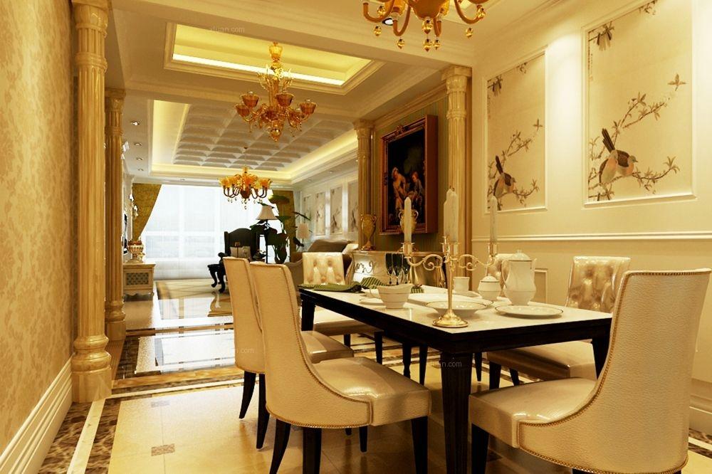 祥云国际146平米三居室奢华美式装修效果图