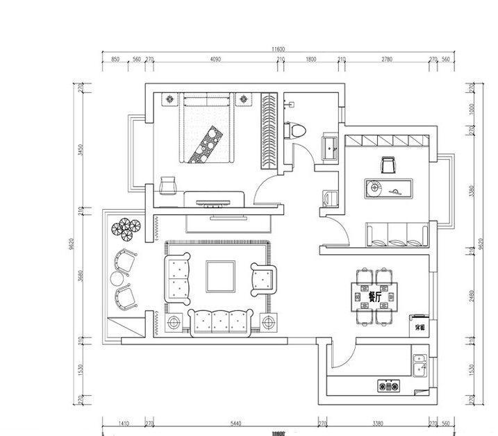 简约欧式 一居室 70平米