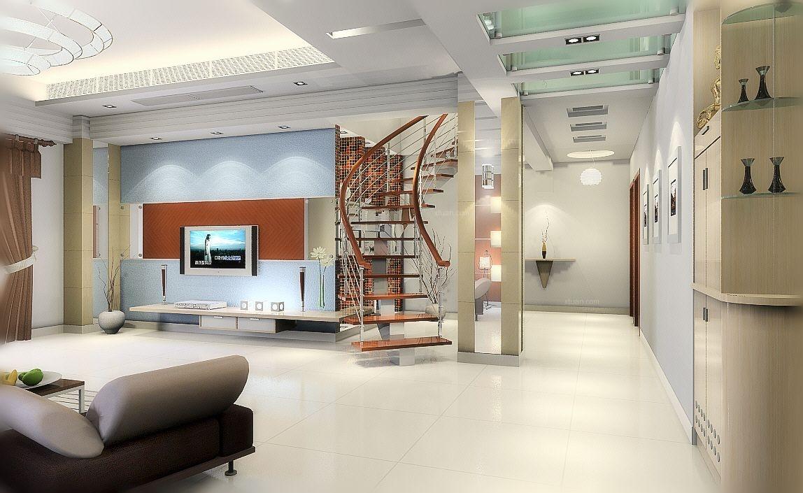 复式楼现代风格客厅电视背景墙
