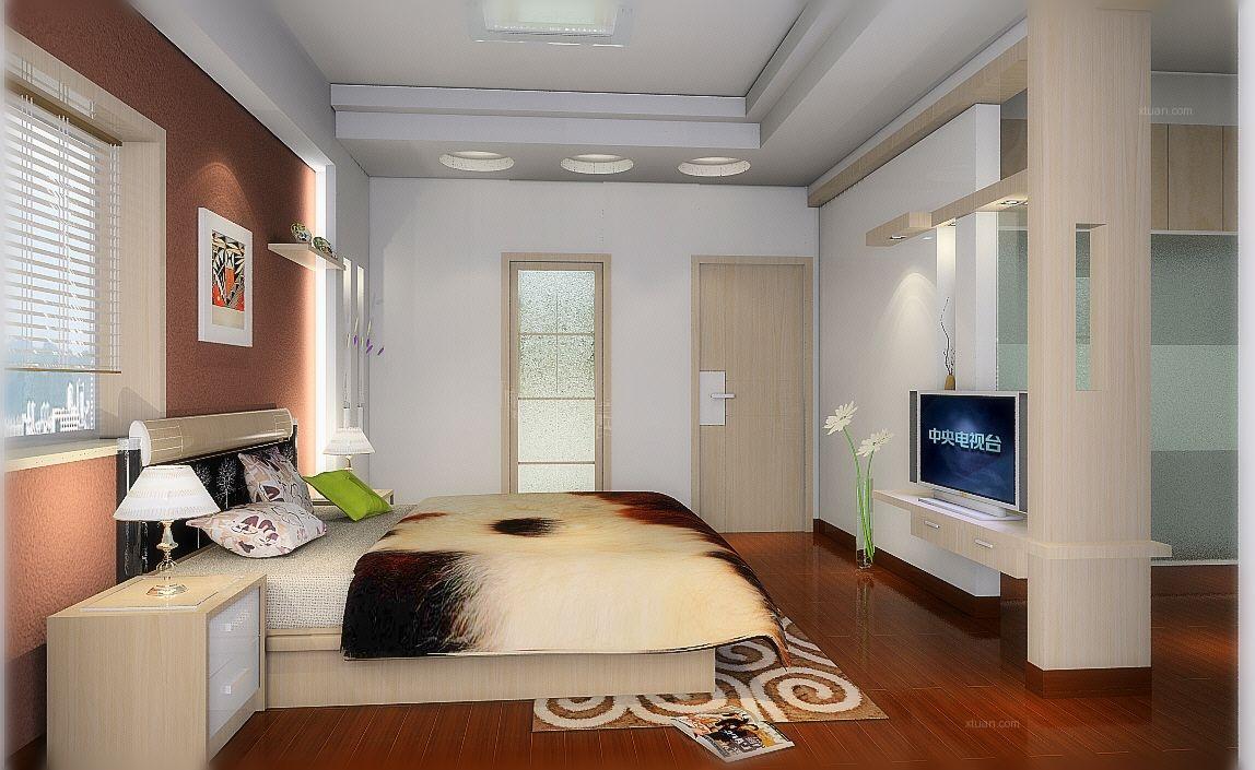 复式楼现代风格卧室电视背景墙