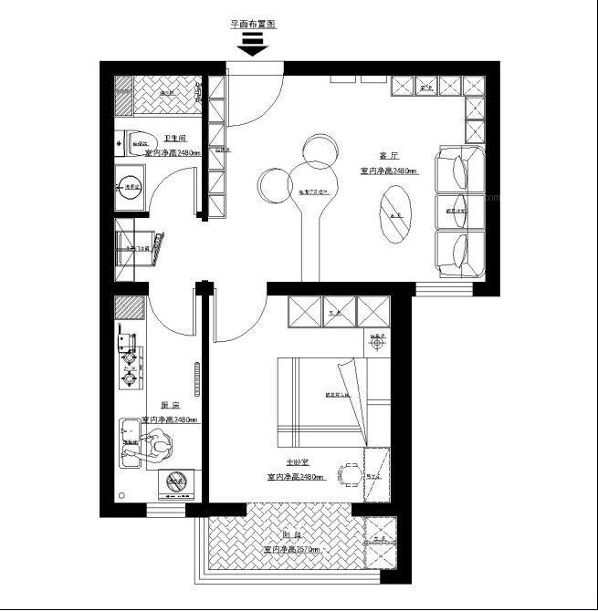 3系套餐简约风格装扮悦和园小区60平米一居室