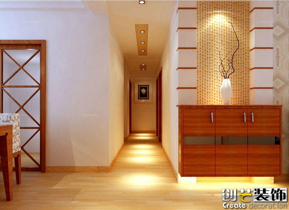 两居室中式风格玄关隔断