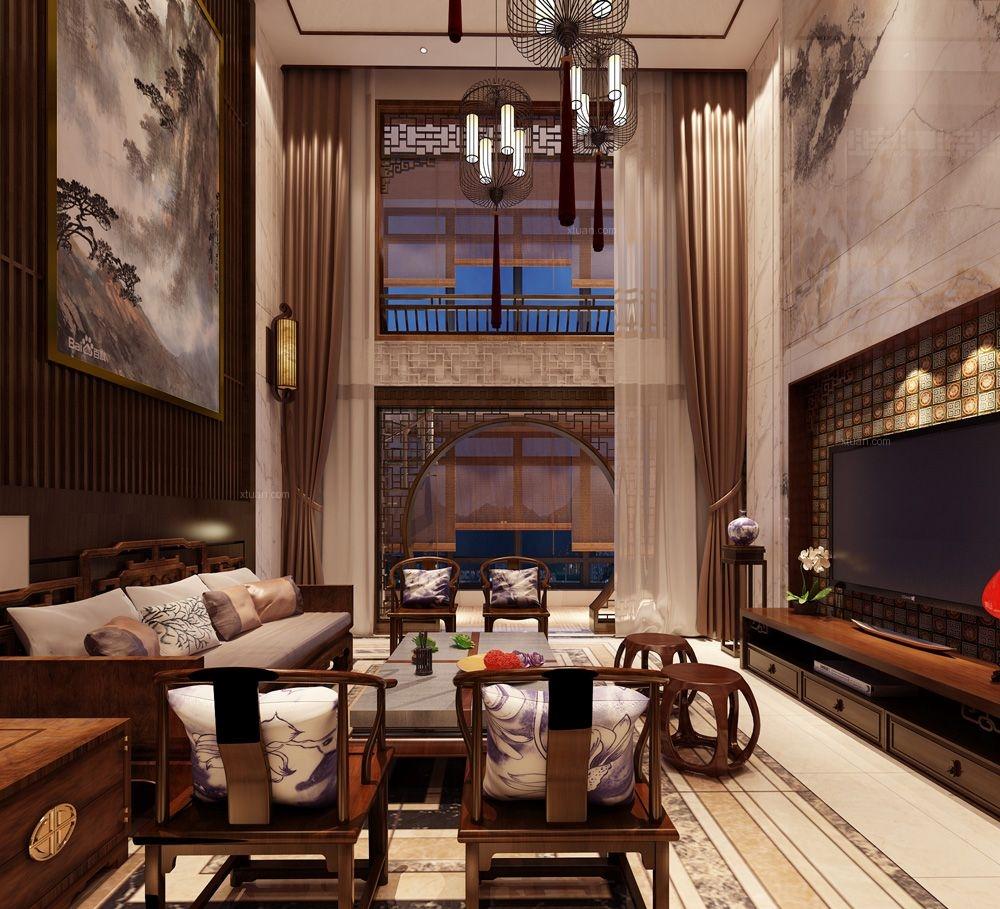 复式楼中式风格客厅_集美碧海蓝天装修效果图-x团装修图片