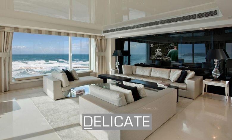 两室一厅现代风格客厅_海景公寓装修效果图-x团装修网