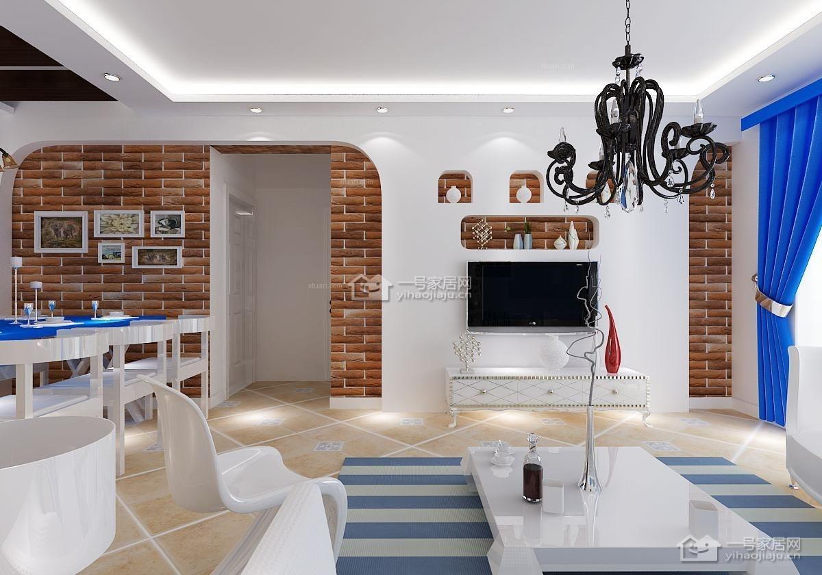 四居室地中海风格客厅照片墙
