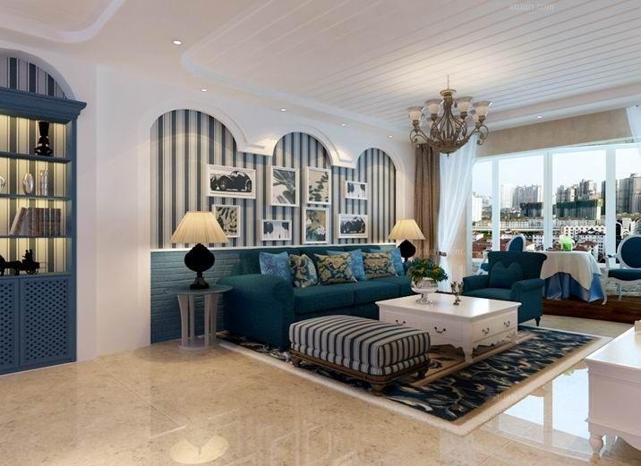 大户型地中海风格客厅沙发背景墙