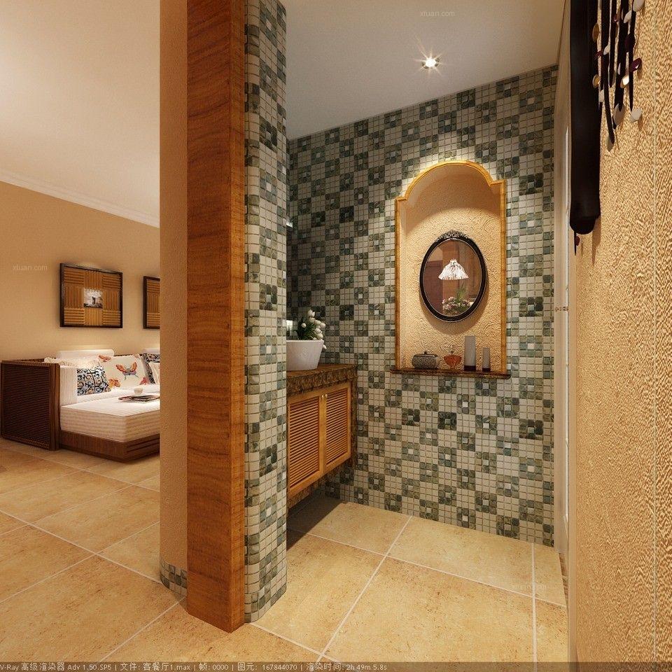 三居室田园风格洗手间