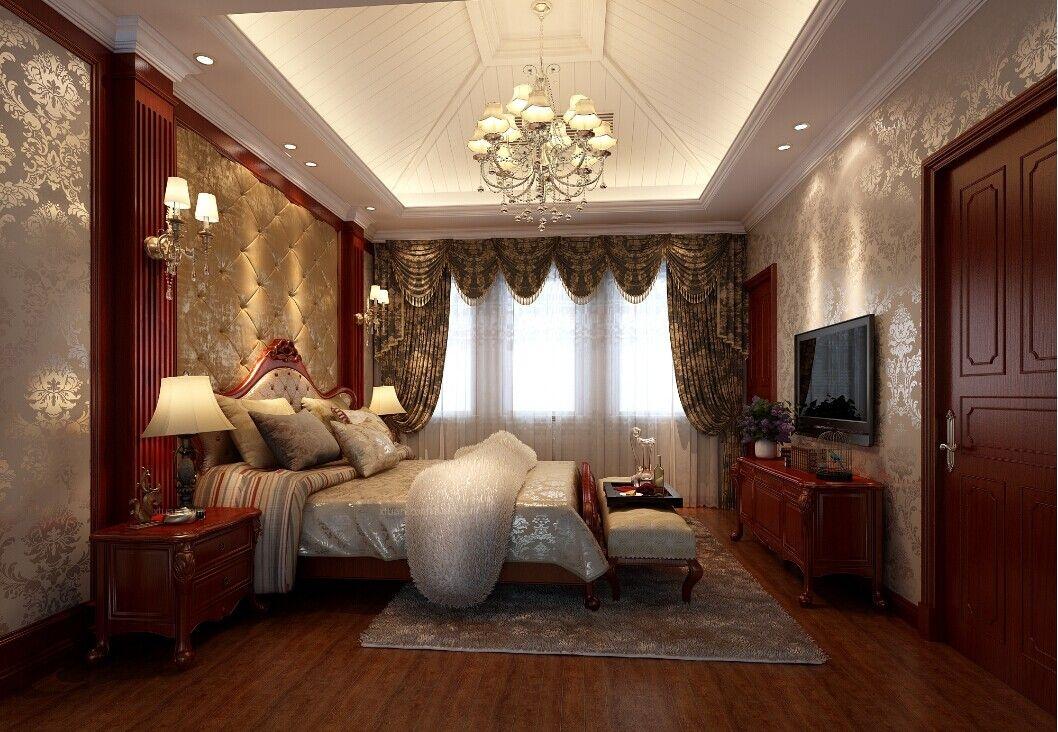 别墅中式风格卧室_九龙湖别墅装修效果图图片
