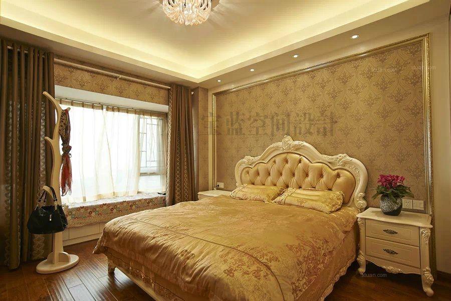 三室两厅简欧风格主卧室卧室背景墙