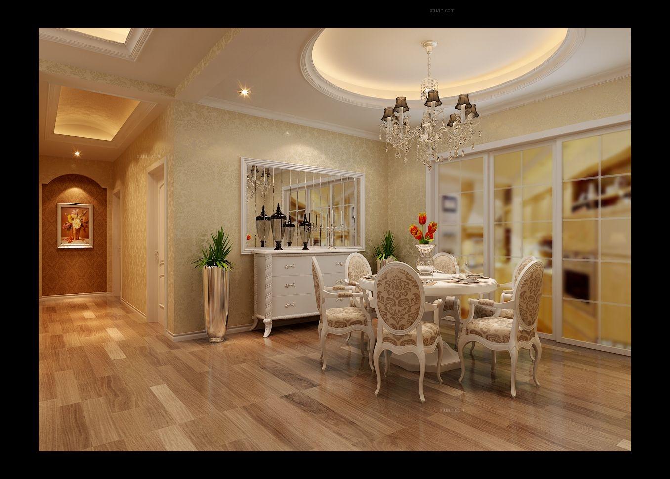 四居室简欧风格客厅圆形吊顶图片