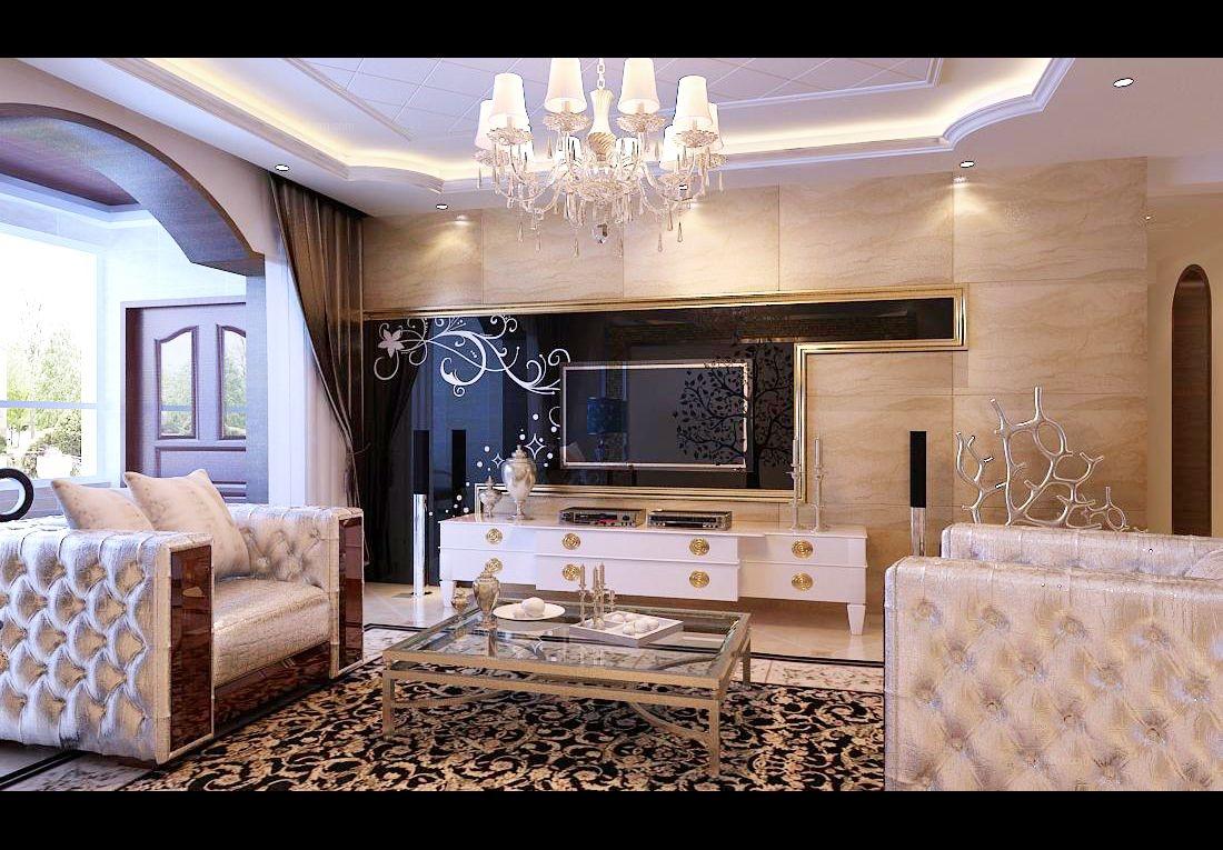 三室两厅北欧风格客厅电视背景墙_城市理想170平方简欧风格三居室北欧图片