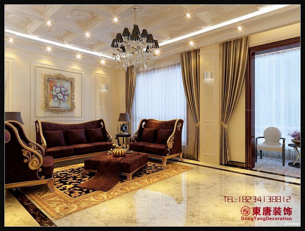 跃层欧式风格客厅影视墙图片