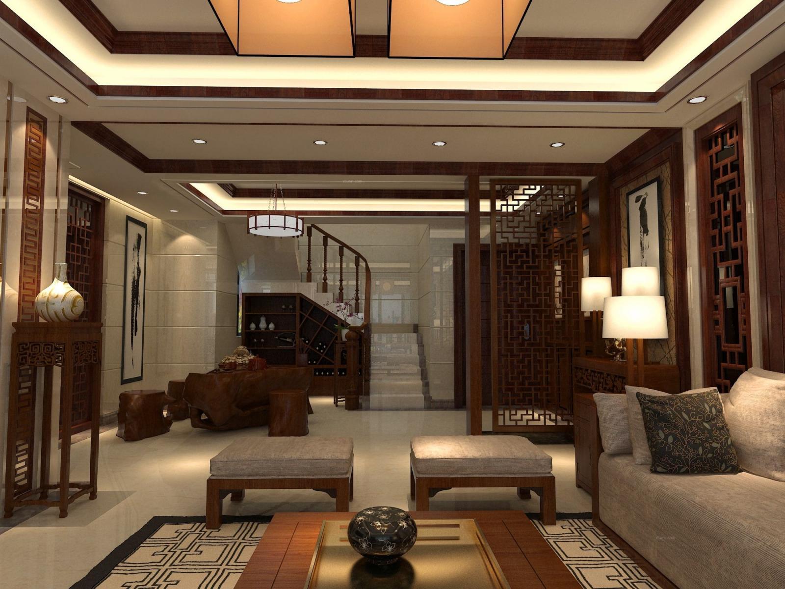 复式楼中式风格玄关_万祥家园-复式楼装修效果图-x团图片