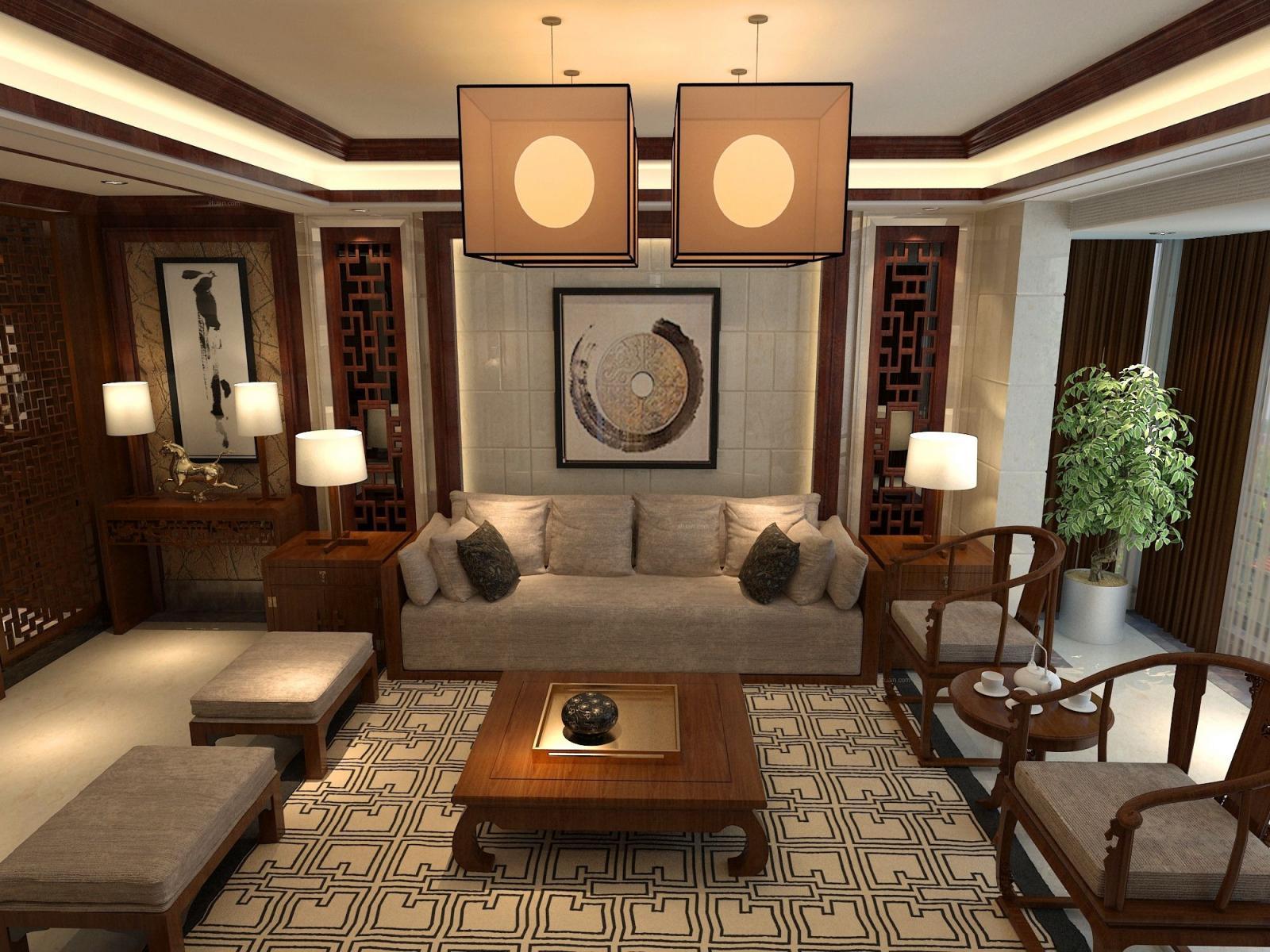 复式楼中式风格客厅_万祥家园-复式楼装修效果图-x团图片