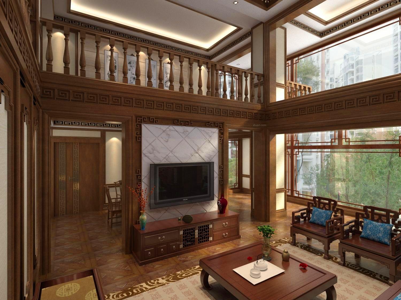 复式楼中式风格客厅_新叶外滩-复式楼复式楼客厅图片