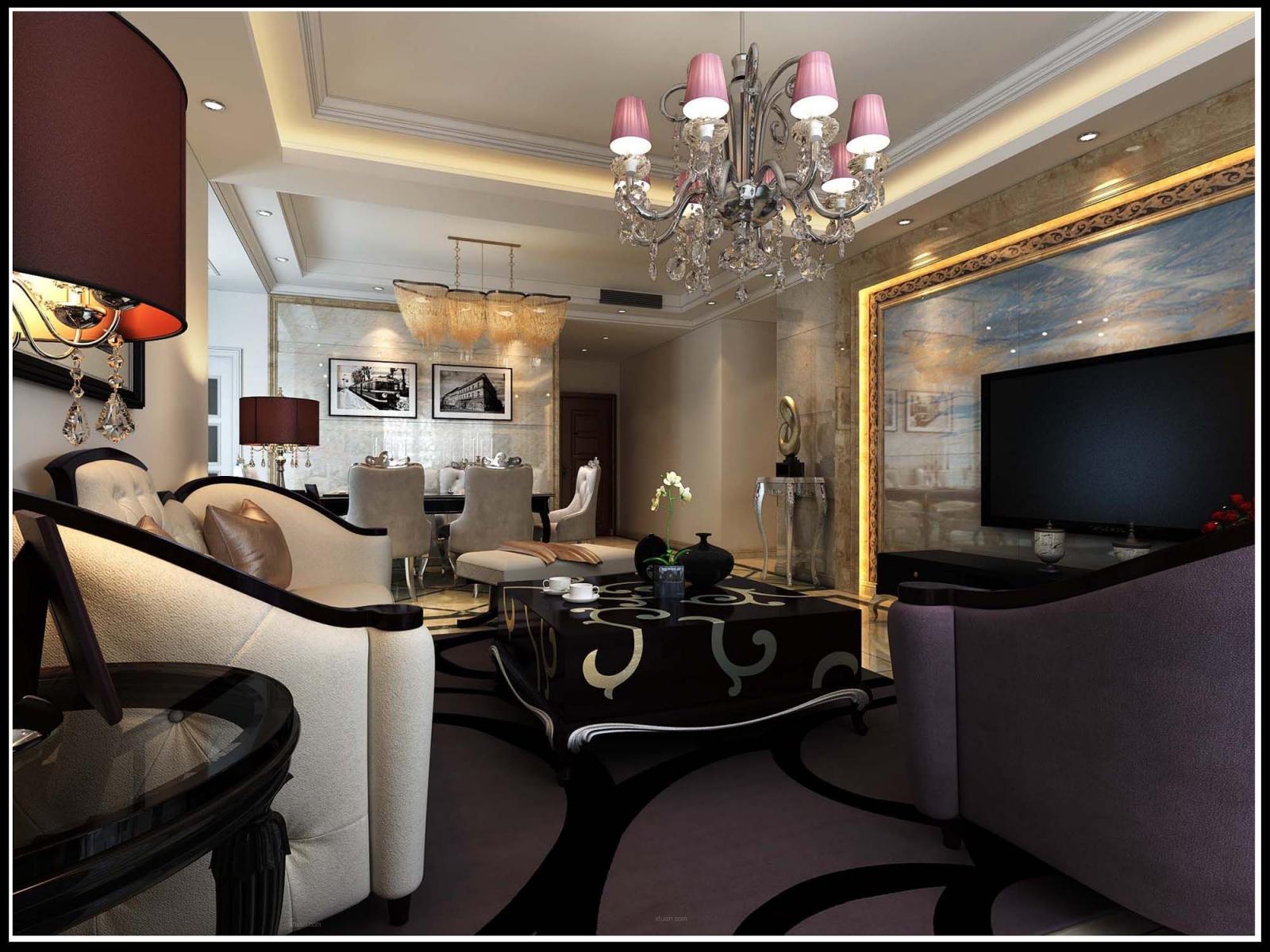 三居室欧式风格客厅影视墙