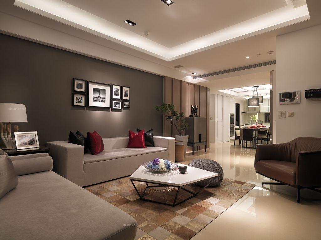 三室两厅现代简约客厅客厅隔断