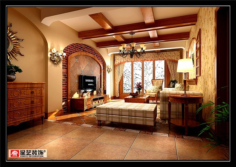 复式楼美式风格客厅电视背景墙图片