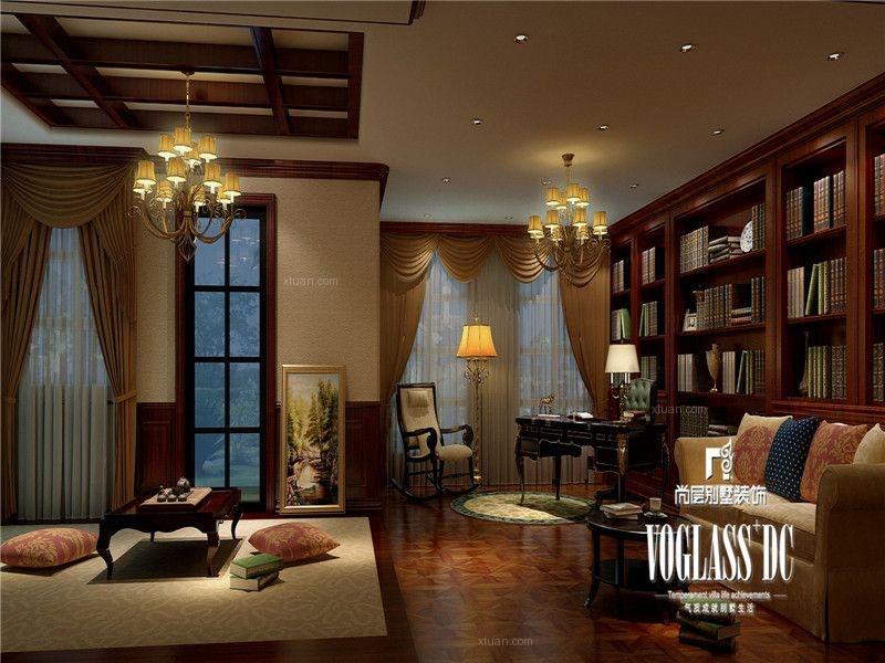 独栋别墅美式风格书房沙发背景墙图片