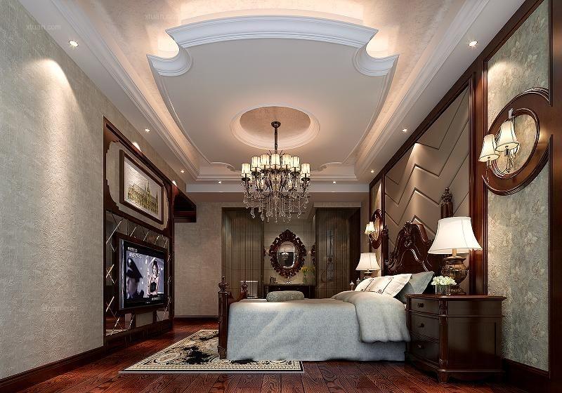 大户型美式风格卧室墙绘图片
