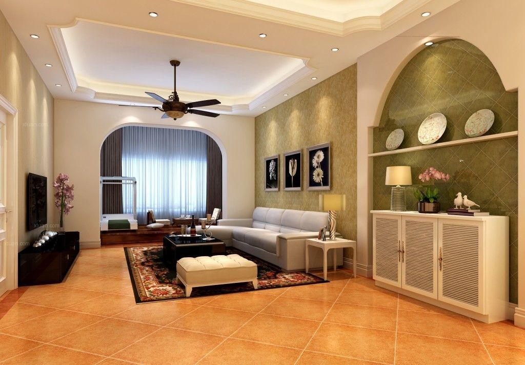 三居室美式风格客厅影视墙