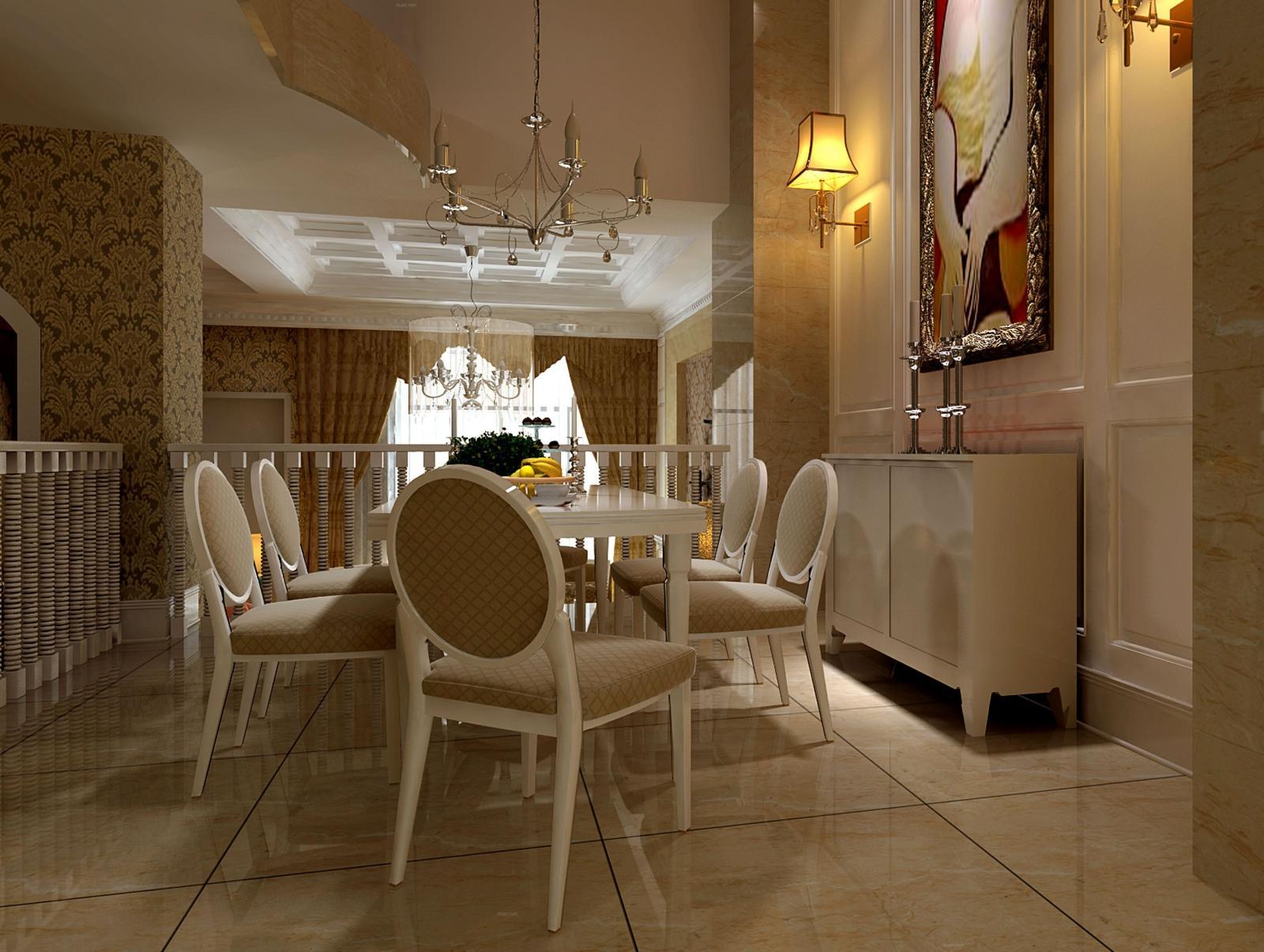 别墅简欧风格餐厅_金色威尼斯装修效果图-x团装修网