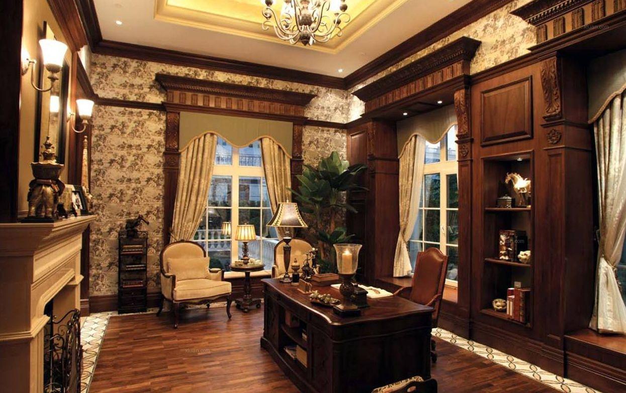 三居室法式风格书房软装图片