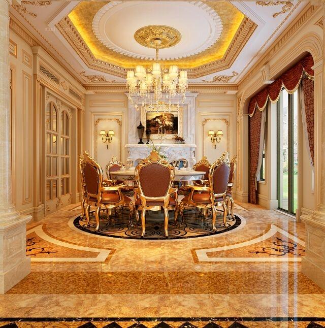 别墅法式风格客厅沙发背景墙
