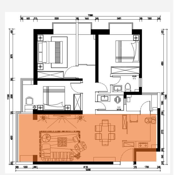 三居室现代简约客厅_海伦国际十三号地装修效果图-x团