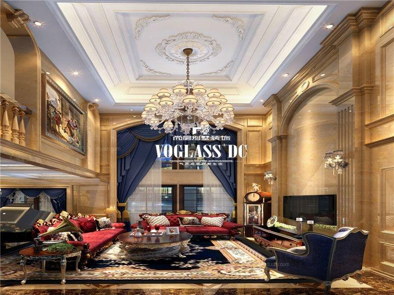 跃层古典风格客厅圆形吊顶图片