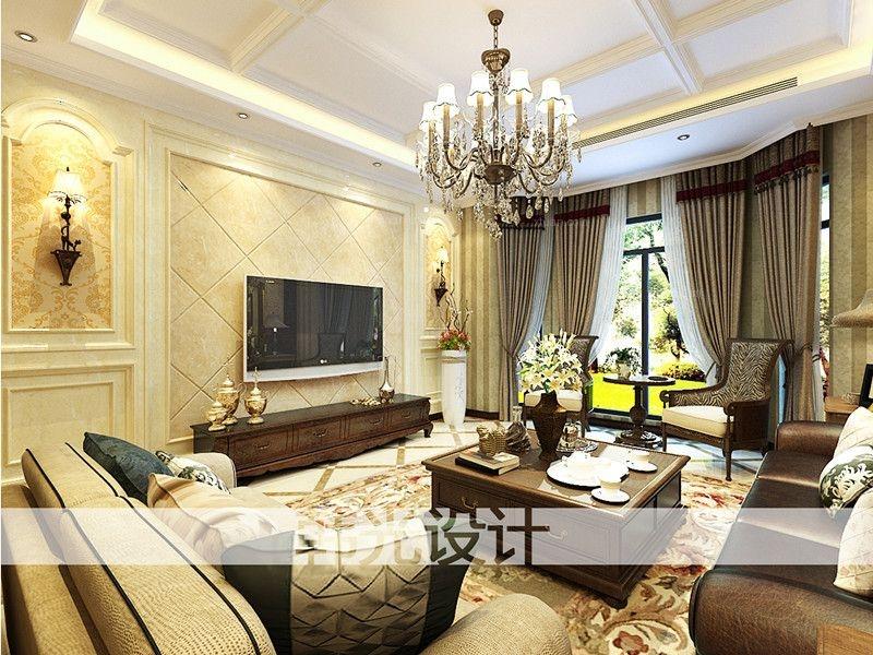 别墅美式风格客厅电视背景墙图片