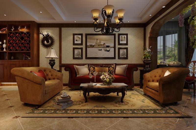 四居室美式风格客厅软装