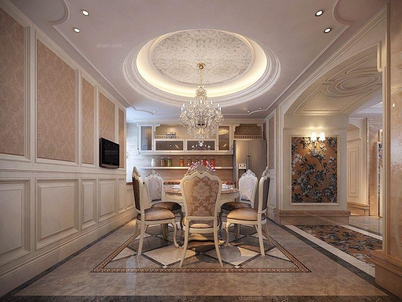 三室两厅欧式风格餐厅圆形吊顶图片