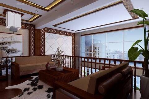复式楼中式风格阁楼软装_昆明市湖畔之梦180平方跃层