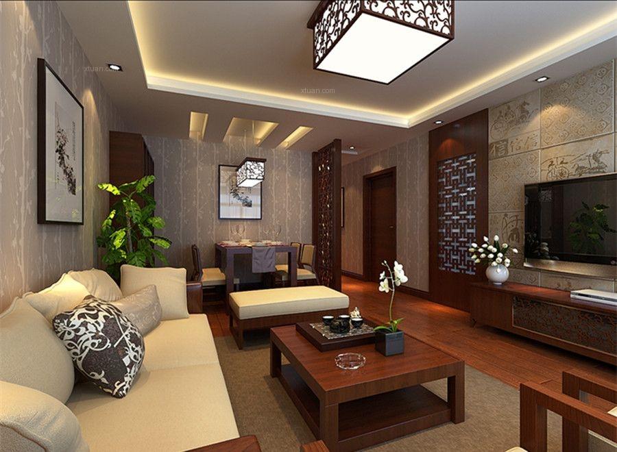 顶峰公寓三居室现代中式风