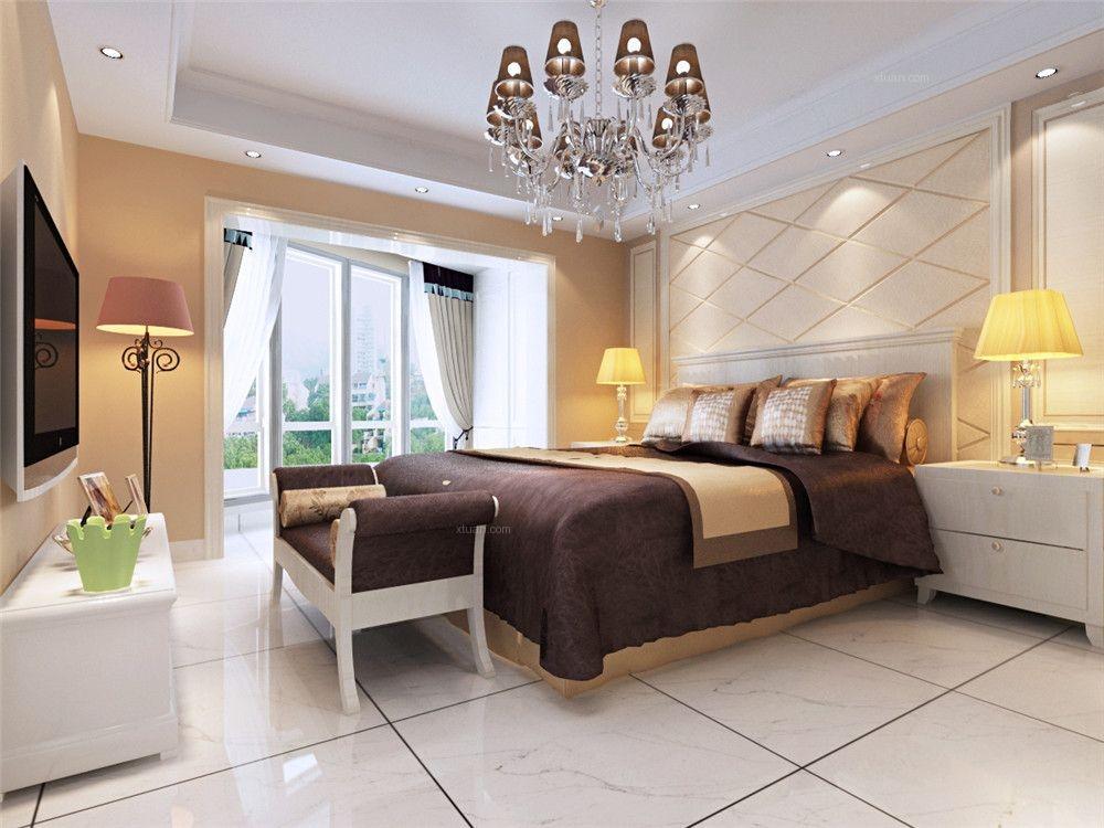 四居室简欧风格主卧室卧室背景墙图片