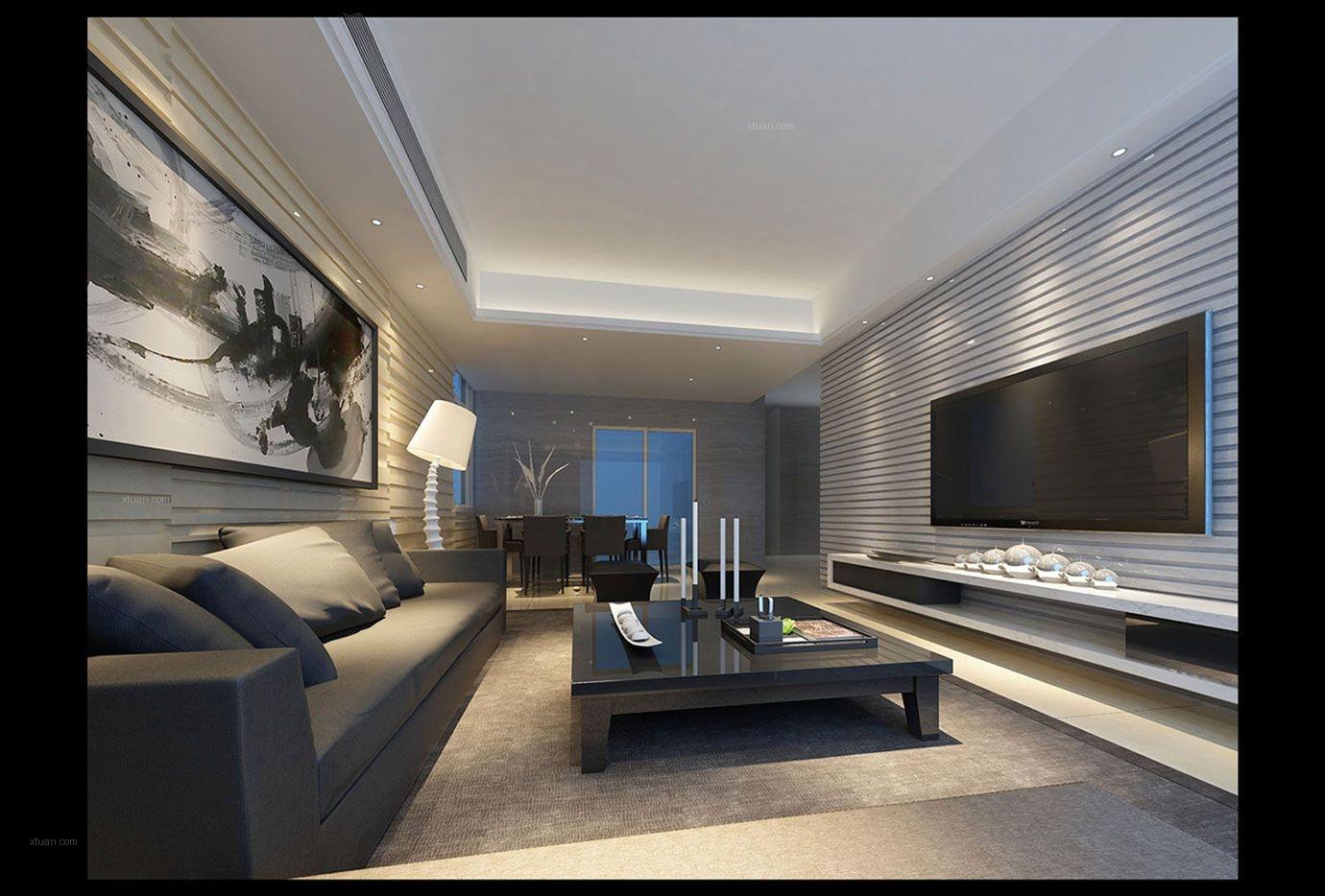 三居室时尚风格客厅影视墙