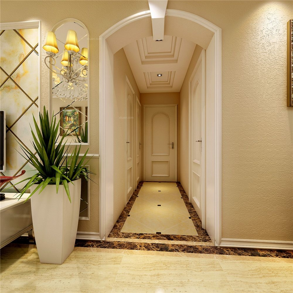 三居室简欧风格过道图片