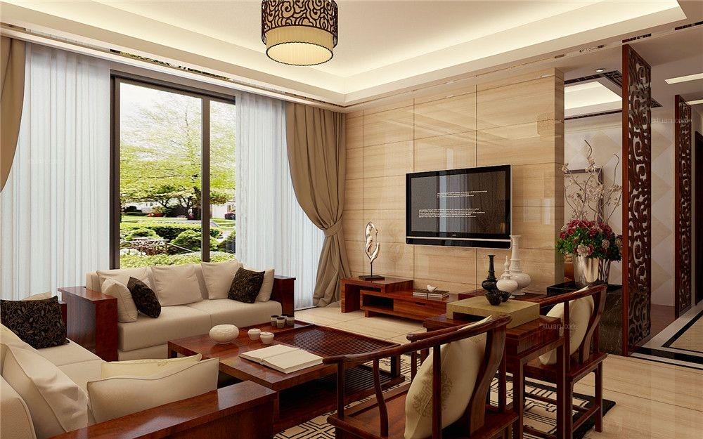 大户型中式风格客厅_半岛半山152㎡中式大户型客厅