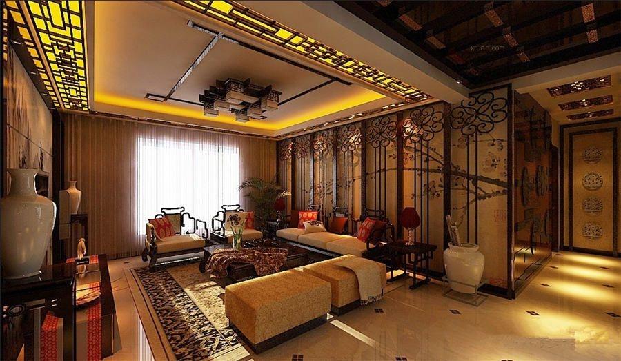 别墅中式风格客厅_古典中式别墅