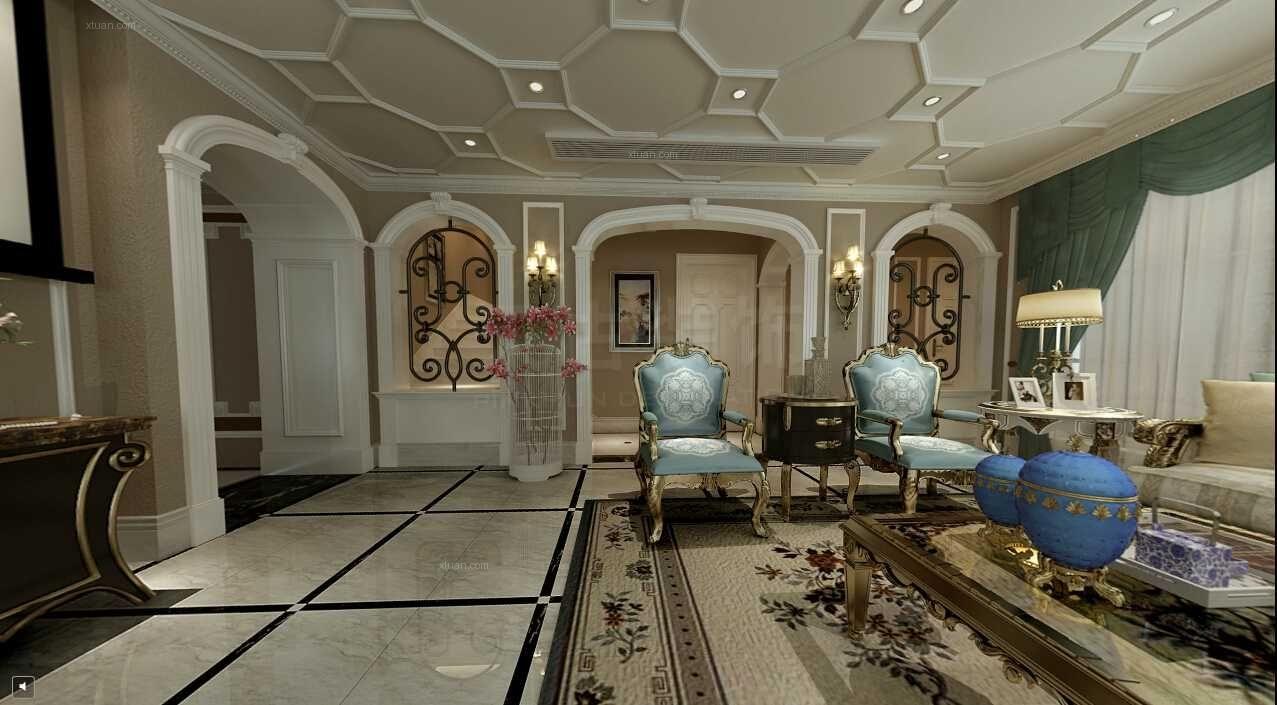 别墅法式风格客厅_中安长岛法式风格设计装修效果图-x图片