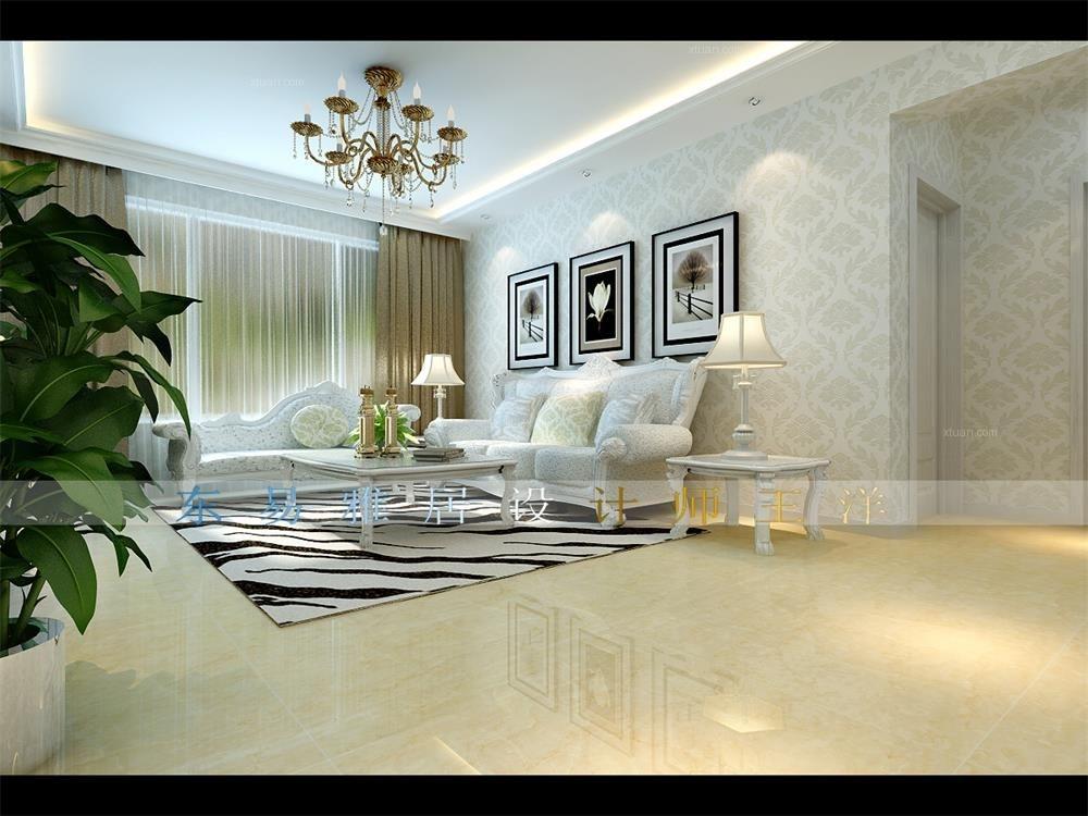 三室两厅简欧风格客厅_景程小区装修效果图图片
