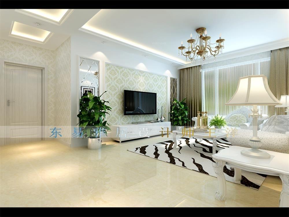 三室两厅简欧风格客厅_景程小区装修效果图-x团装修网
