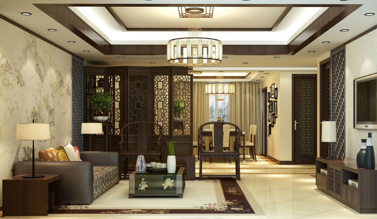 四居室中式风格客厅客厅隔断
