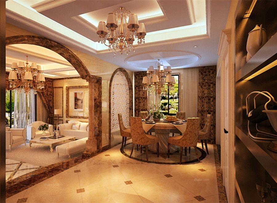 复式楼欧式风格餐厅_奢华 大气 简欧风格装修效果图-x图片