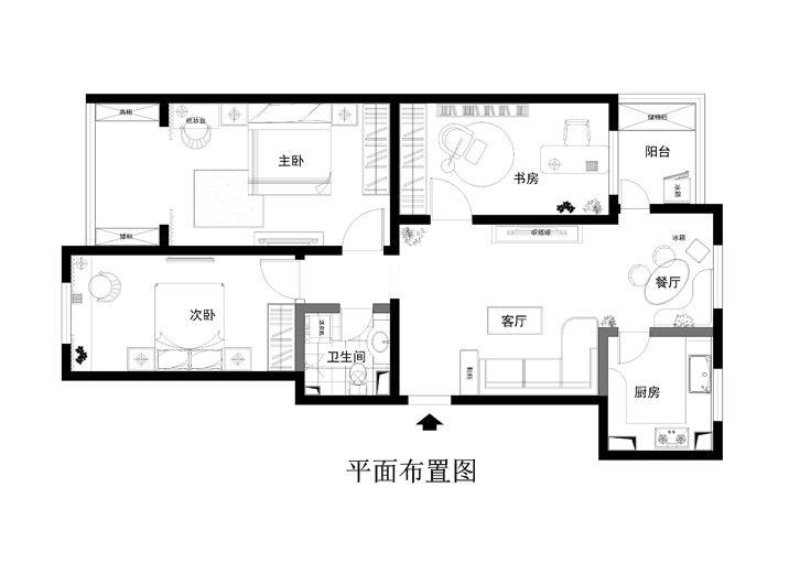 三居室美式风格婚房