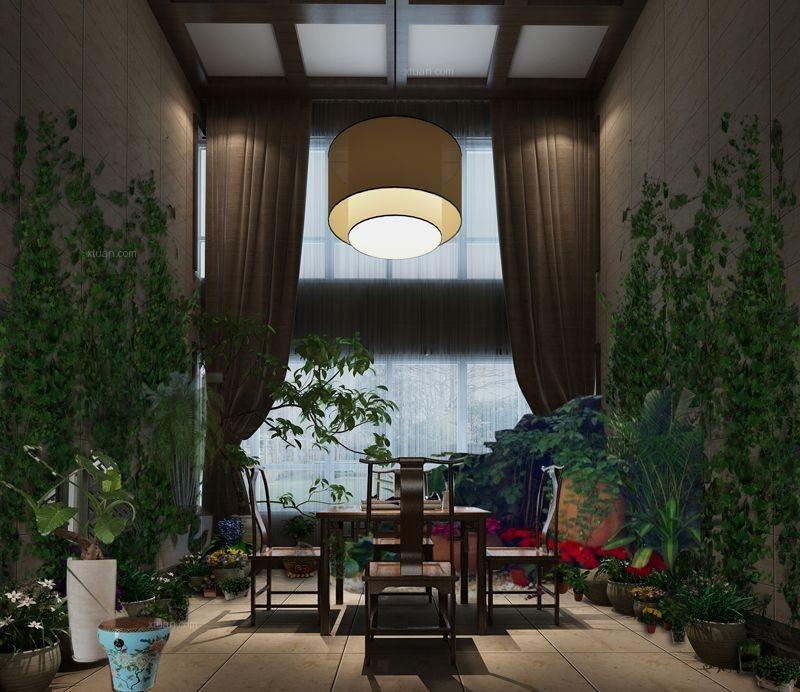 两居室中式风格休闲区入户花园图片