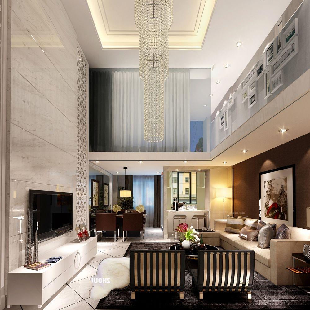 复式楼现代简约客厅电视背景墙_华贸城-180平-时尚简约风格案例复式楼图片